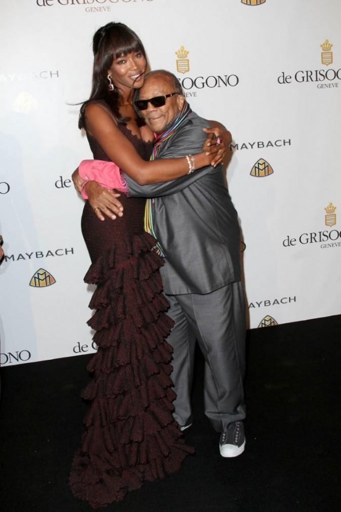 Naomi Campbell et Quincy Jones lors de la soirée De Grisogono à Cannes, le 17 mai 2011.