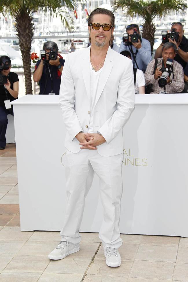 Blanc sur blanc, Brad Pitt n'en disparaît pas pour autant !