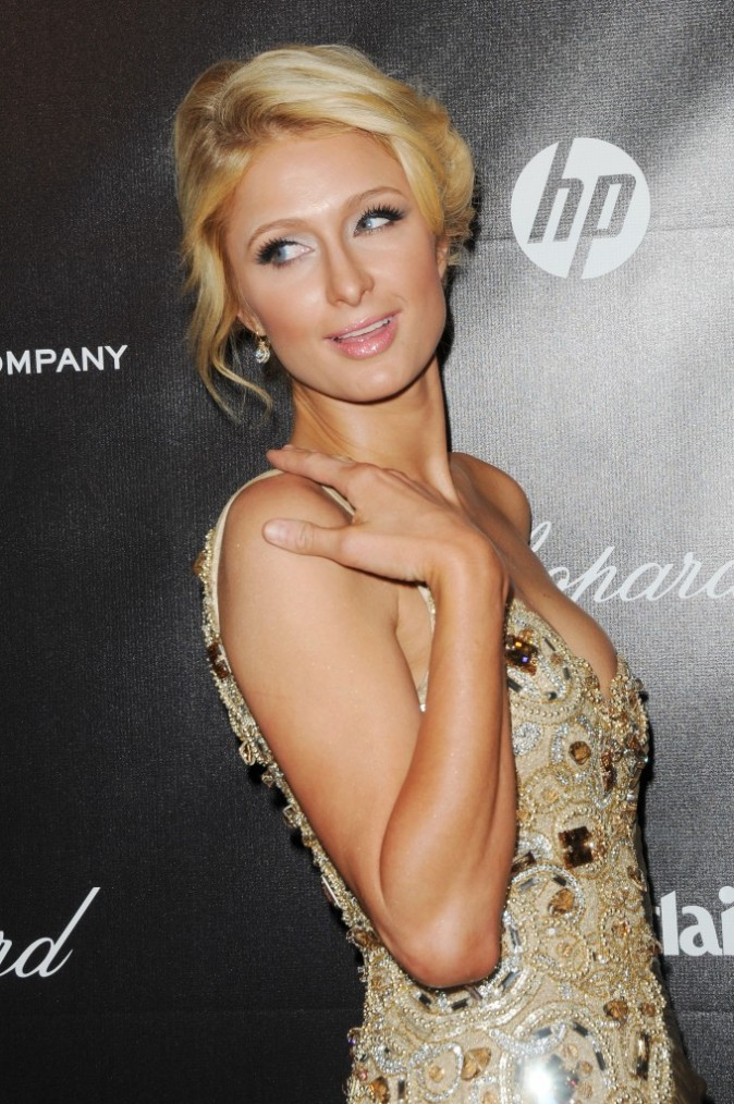 Paris Hilton lors de l'after-party des Golden Globes, le 15 janvier 2012.