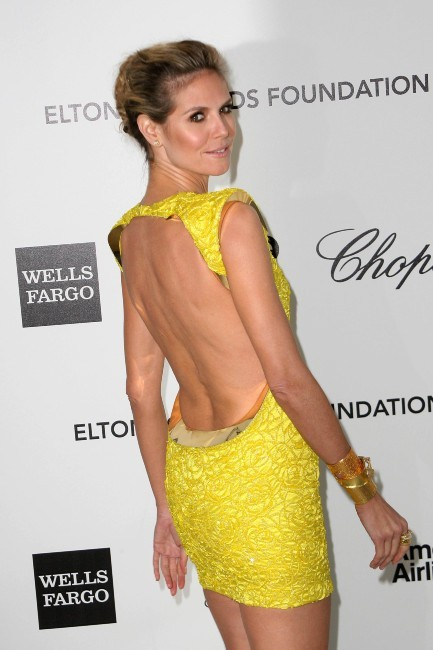Heidi Klum lors de l'Oscar Party d'Elton John à Hollywood, le 26 février 2012.