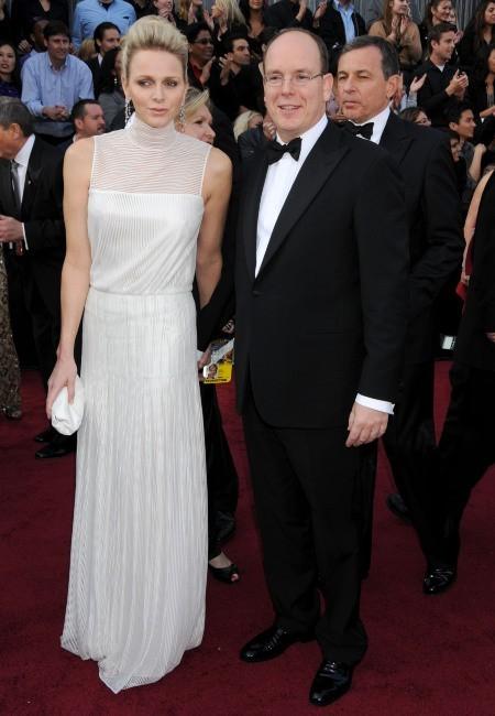 Charlène Wittstock et Albert de Monaco lors de la cérémonie des Oscars à Hollywood, le 26 février 2012.