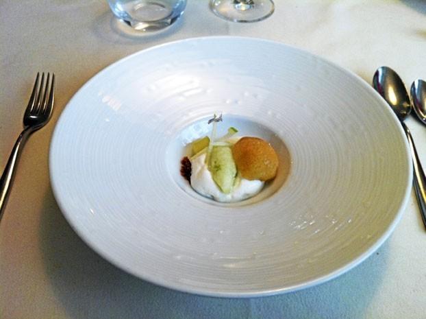 Le pré-dessert offert : Assiette gourmande travaillée autour de la pomme : émulsion, yaourt, glace…