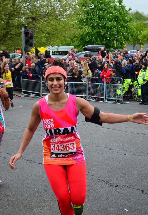 Kiran Gandi lors du marathon de Londres, le 26 avril 2015