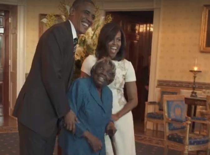 Public buzz vid o a 106 ans elle danse avec barack for Barack obama maison blanche