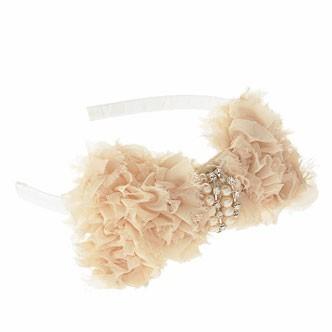Accessoires cheveux été 2011 : le serre-tête avec fleur en tulle, perles et strass !