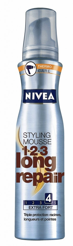 Mousse coiffante thermoprotectrice 1,2,3 Long Repair, Nivea 5,50 €