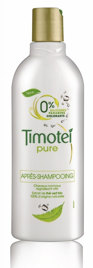 après-shampooing aux extraits de thé vert bio sans silicone, sans paraben et sans colorants, Timotei Pure. 2,69 €.