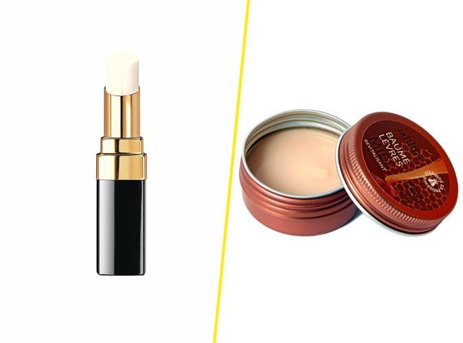 Baume à lèvres, Chanel, 30 € / Baume lèvres au miel, De nos jardins, Nature & Découvertes, 6,50 €