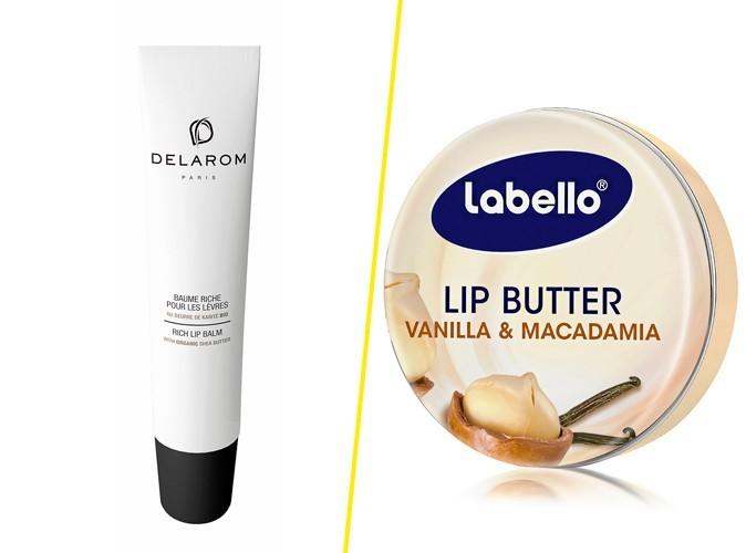 Baume riche pour les lèvres, Delarom 16 € / Beurre à lèvres, Vanille & Macadamia, Labello, 3,90€