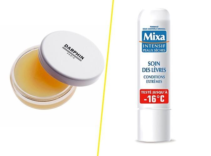 Soin des lèvres, Darphin 38 € / Soin des lèvres Conditions Extrêmes, Mixa, 2€