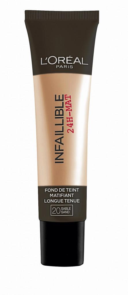 Les produits : Fond de teint matifiant, Infaillible 24H-Mat, L'Oréal Paris 14,40 €