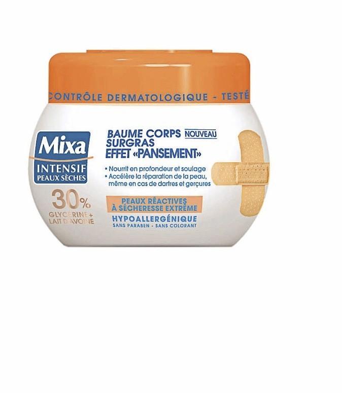 Baume corps surgras effet pansement, Mixa Intensif peaux sèches, 6,30€