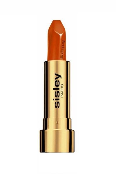 Mode d'emploi du smoky eye vert : un rouge à lèvres orange Sisley