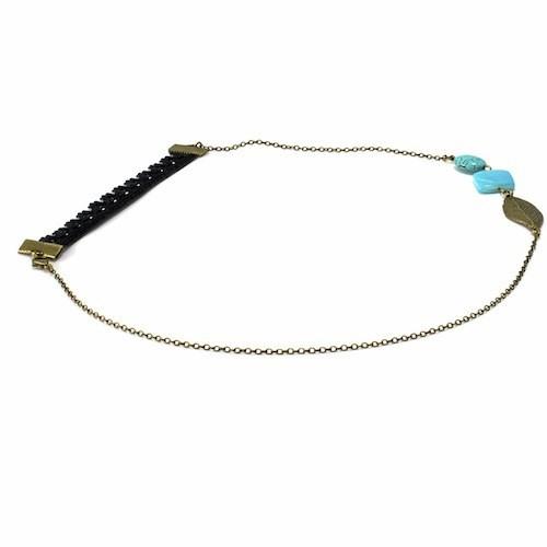 Bijou de tête en laiton bronze et perles turquoise, Chat fl euri 29 €