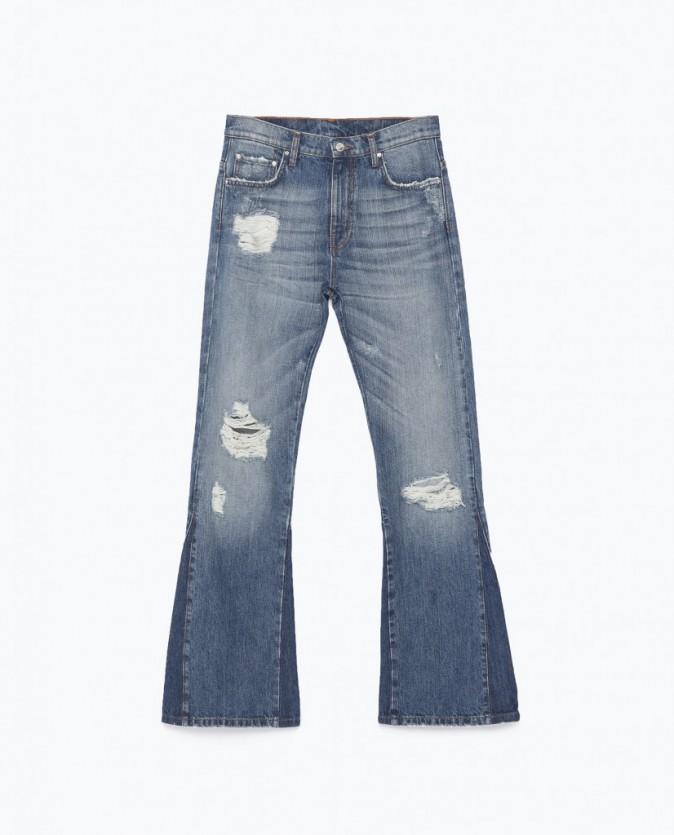 Pantalon pattes d'éléphant style 70' en denim effet usé,Zara, 49,95€