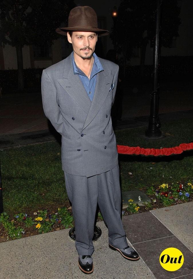 Look de Johnny Depp : costume gris et chapeau rétro en 2007