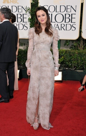 Photo : le look de Leighton Meester en janvier 2011 aux Golden Globes