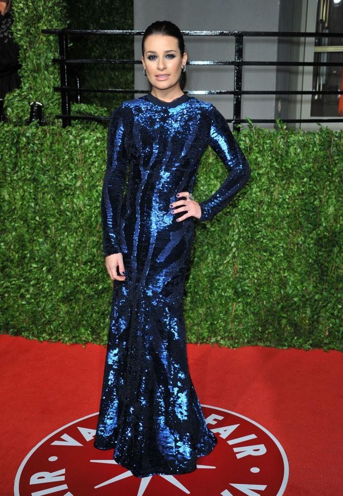 Les stars de Glee en mode glamour : la robe longue bleue de Lea Michele