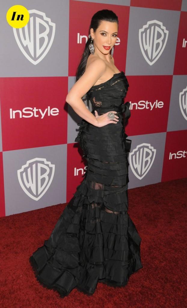 Look de Kim Kardashian : une robe longue fourreau noire en 2011