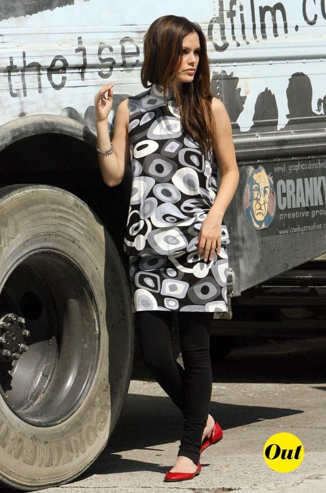 La robe imprimée cheap et le legging de Rachel Bilson en Octobre 2009 !