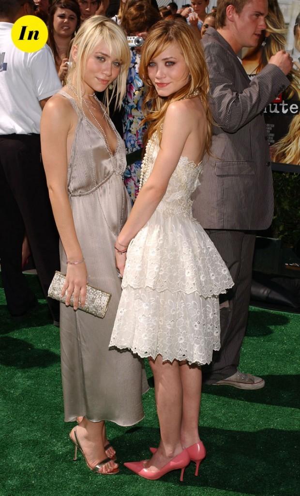 Les robes ivoire, satin et dentelle des soeurs Olsen en Avril 2004 !
