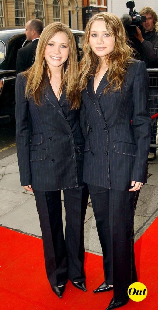 Les smokings rayés des soeurs Olsen en Mai 2002 !