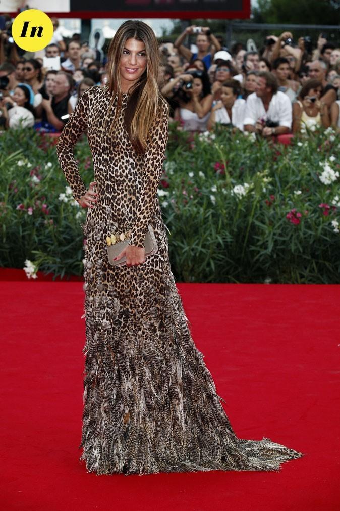 Mostra de Venise 2011 : la robe léopard à plumes Giambattista Valli haute couture de Bianca Brandolini d'Adda