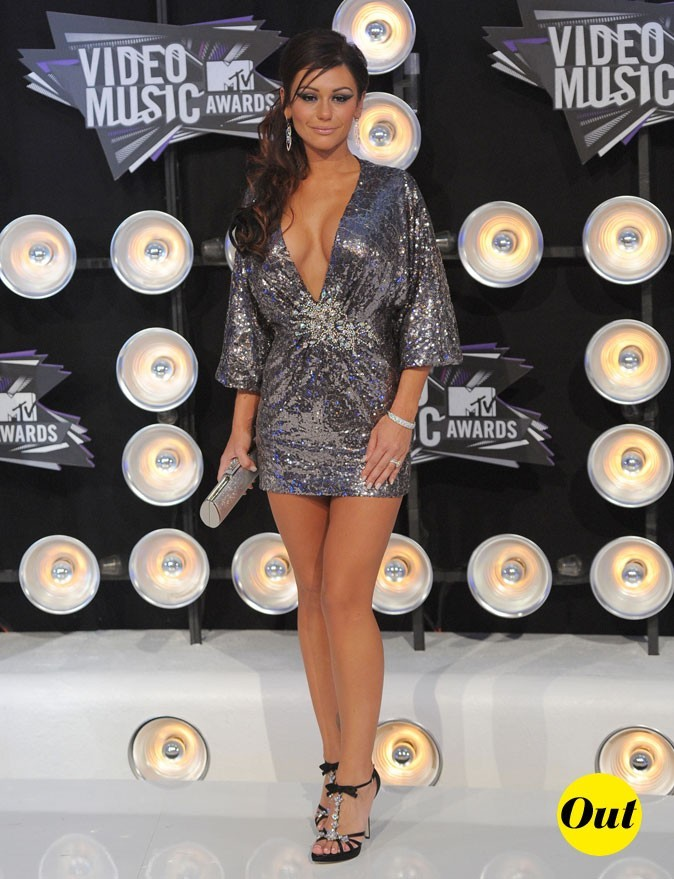 Le look de Jenni JWOWW aux MTV Video Music Awards 2011 : une tunique en sequins très décolletée !