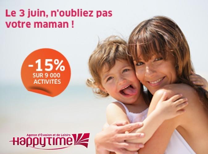 Bon plan Fête des Mères : 15% de réduction sur les 9000 activités loisirs Happytime.com !