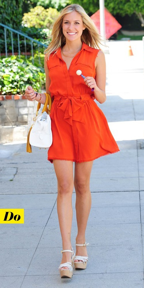 Kristin Cavallari en robe chemise orange