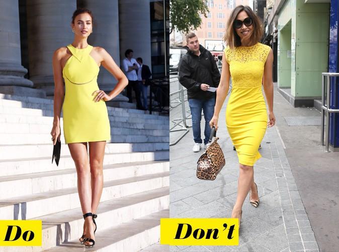 La yellow touch - Do : Irina Shayk / Don't : Myleene Klass