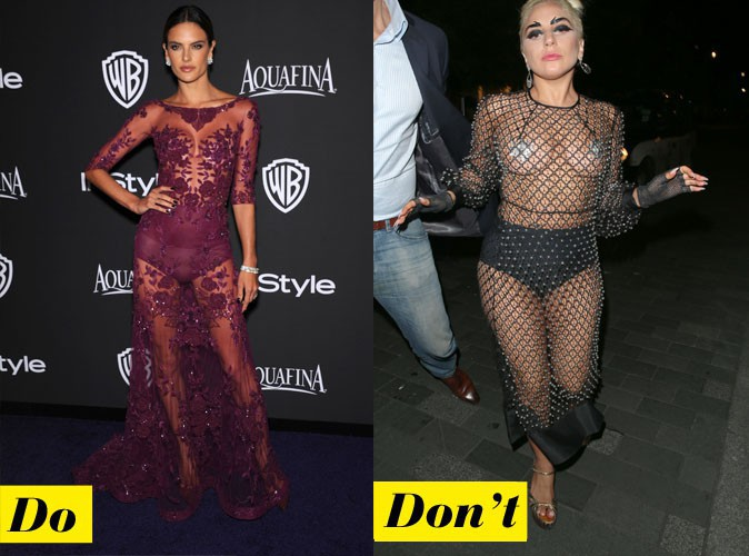 La robe transparente - Do : Alessandra Ambrosio / Don't : Lady Gaga