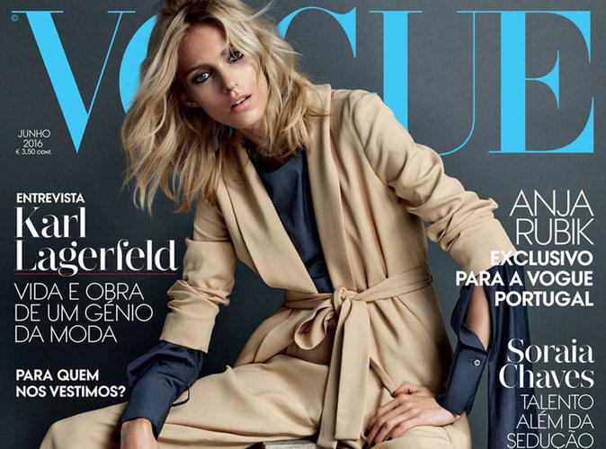 Anja Rubik : casual et boyish en couverture du magazine Vogue Portugal