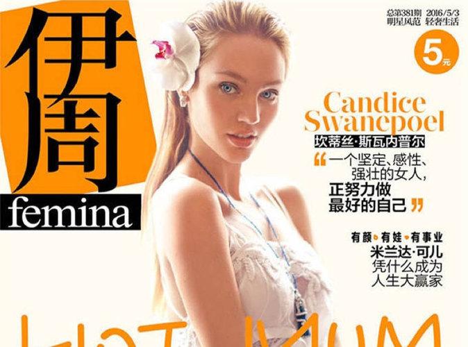 Candice Swanepoel : future maman ultra sexy en couverture de Femina Chine