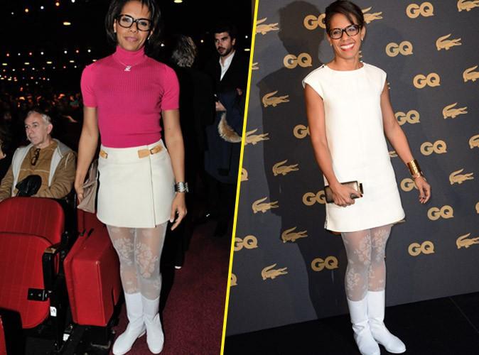 Audrey Pulvar : le combo bottes blanches en vinyle et collants blancs fleuris, sa nouvelle fixette fashion, vous en pensez quoi ?