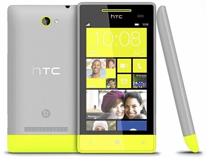 Téléphone jaune et gris, Windows Phone 8S de HTC 299 €