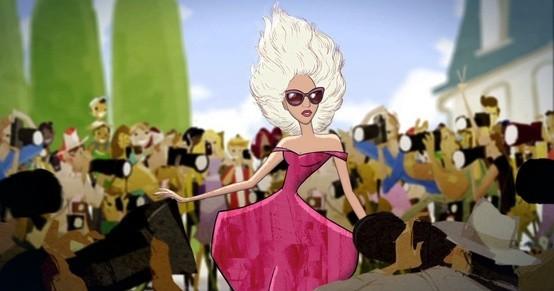 Lady GaGa vêtue de la robe Marc Jacobs qu'elle portait en couverture du Vogue US en septembre 2012