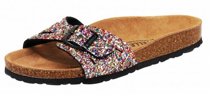 Sandales à paillettes, Pastelle, 35€