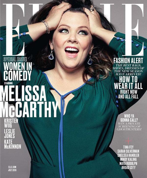 Melissa McCarthy en couverture de ELLE juillet 2016