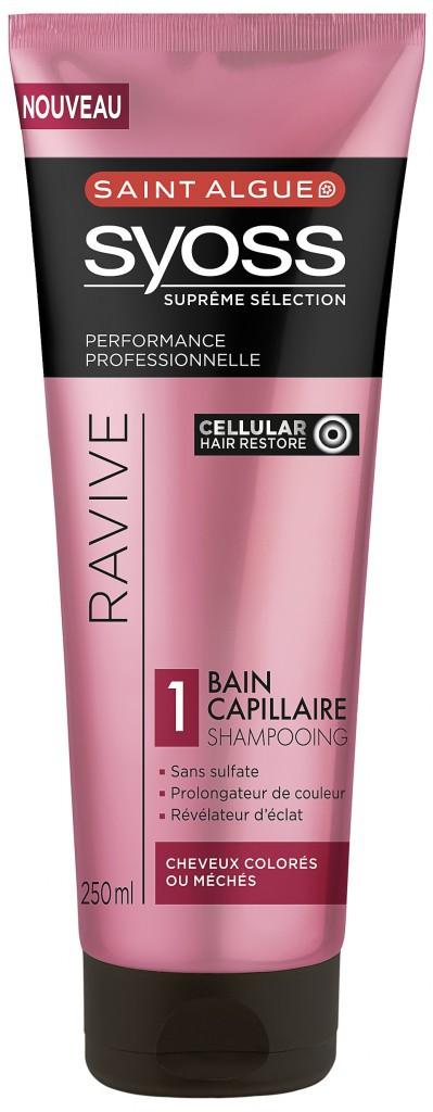 Shampooing Bain capillaire Ravive sans sulfates, Saint Algue Syoss 4,95€