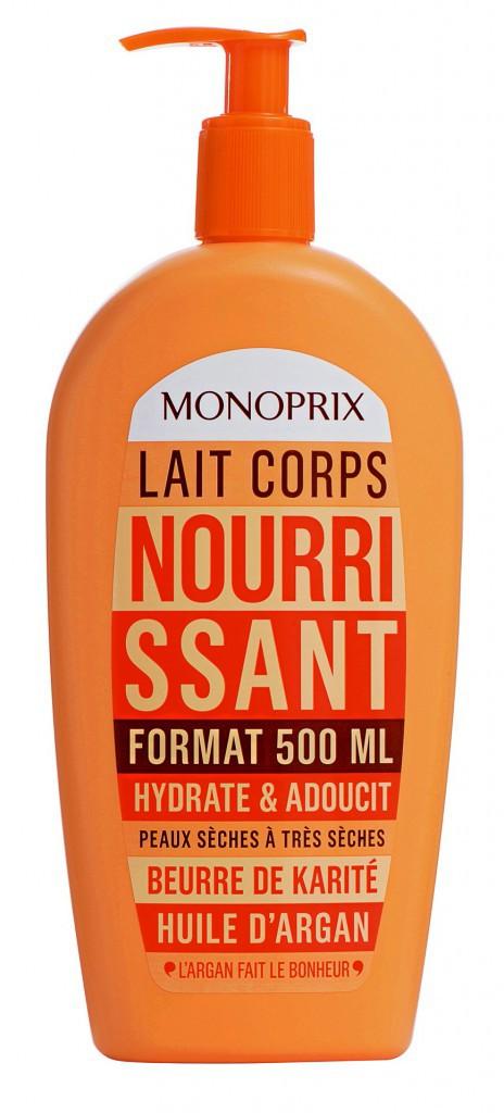 Lait corps nourrissant beurre de karité et huile d'argan, Monoprix. 3,38 €.