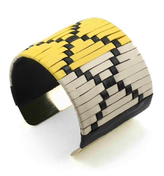 Bracelet en cuir tissé, Daphne, Wing Paris, 88€