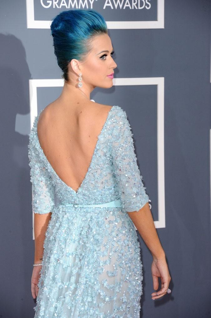 Katy Perry brille en robe bleu ciel rebrodée, signée Elie Saab. Outre ses boucles d'oreilles en cascade de 3 diamants, on aime son décolleté dans le dos.