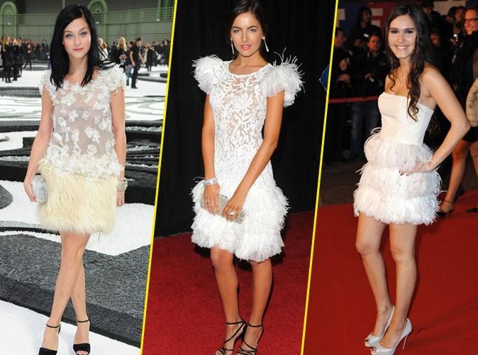 Elles portent toutes une robe à plumes blanche