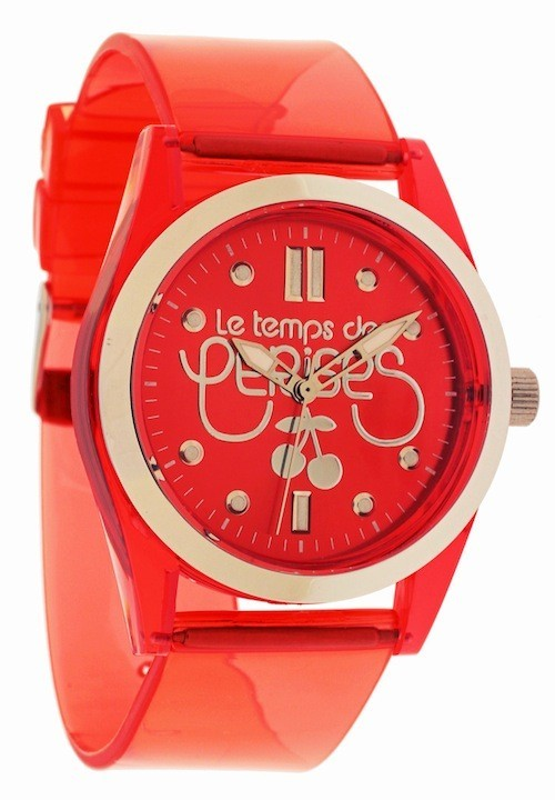 Bracelet en plastique rouge, Le Temps des Cerises, 80 €