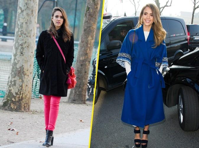 Mode : Focus sur les manteaux de Jessica Alba à Paris !