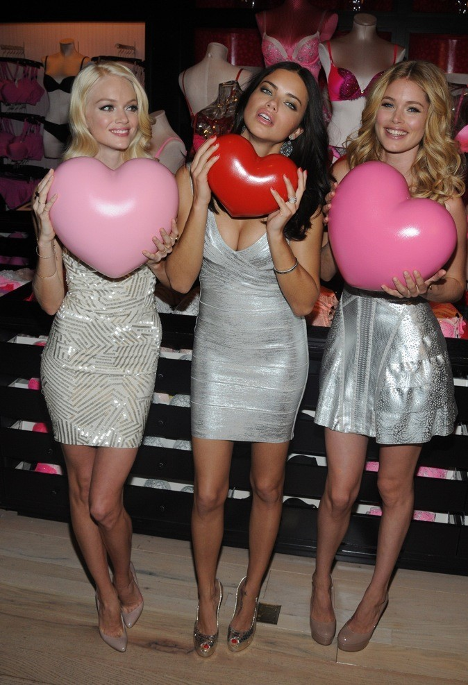 Lindsay Ellingson, Adriana Lima et Doutzen Kroes fêtent la Saint-Valentin à New York