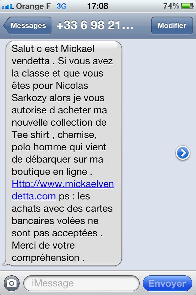 Merci Mickael pour ce sympathique sms !