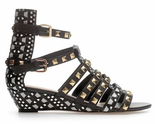 Sandales compensées cloutées, Zara, 69 e