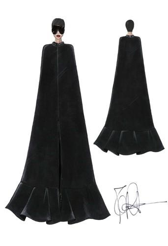 Croquis de la cape noire Givenchy